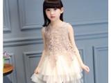 夏季新款童装韩版女童雪纺连衣裙蕾丝网纱公主裙