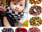 韩版秋冬儿童围脖宝宝毛线围巾 婴儿方格拼色毛线保暖围脖