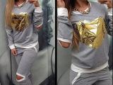 爆款 2015新款秋时尚运动服 心形图案贴片长袖休闲运动服套装女