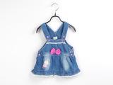 2014童装夏款新品童裙 热销韩版女童背带裙 可爱婴幼儿童牛仔短