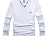 2014春季新款男士时尚修身V领休闲男士长袖t恤 纯棉V领T恤