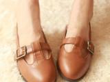 VIVI杂志森女系鞋丁字鞋日系单鞋英伦复古小皮鞋尖头T型低跟鞋