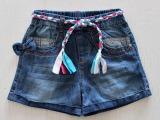 2014新款 Z家女童编织腰带水洗软牛仔短裤 爆款韩版显瘦短裤