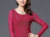 女式长袖T恤衫中长款蕾丝秋衣修身显瘦上衣网纱打底衫模特实拍图