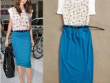 夏装新款欧美卡通印花雪纺上衣+蓝色包臀修身半身裙套装