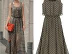 速卖通ebay 爆款欧美新款女装波点露肩收腰雪纺背心连衣裙 X1266