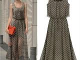 速卖通ebay 爆款欧美新款女装波点露肩收腰雪纺背心连衣裙 X1