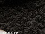 服装DIY布料 黑色蕾丝网布立体花玫瑰盘花裙装装饰花边面料半米价