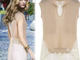 2014春夏装欧美拼色短袖雪纺拼接上衣女中长款短袖雪纺衫