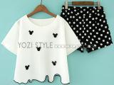 2014夏季新款韩版甜美女装立体卡通图案T恤波点短裤两件套 套装