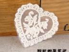 供应韩版网底心型玫瑰花5.5CM本白色水溶全棉贴花(现货)