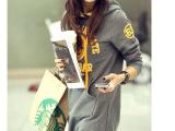 新品韩版大码女装带帽字母套头百搭加绒长款卫衣