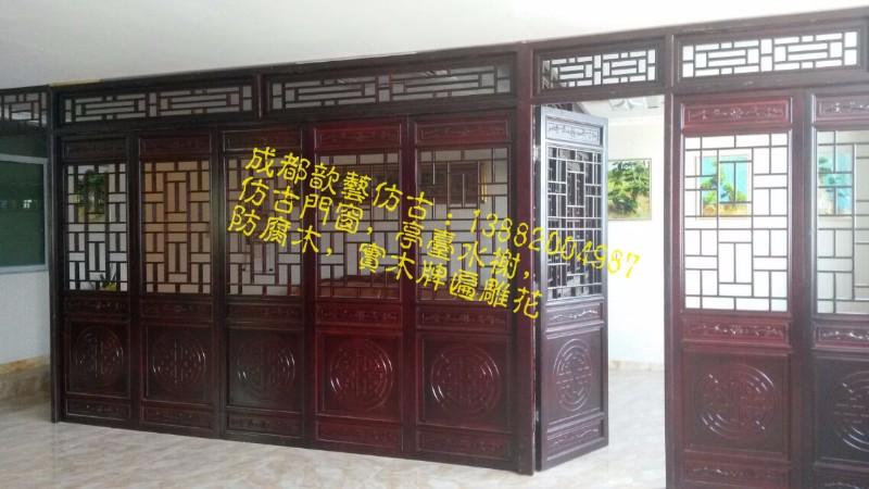 武威火锅店仿古门窗厂家  中式茶楼雕花门窗订做