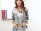 (模特实拍)2014春装新款韩版格子蕾丝七分袖西装小外套女133