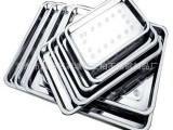 厂家直销西式纯色不锈钢方盘托盘08厚度带磁浅餐盘菜盘批发供应