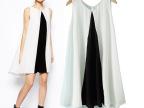 ASDS 2014夏季欧美新款 时尚气质显瘦黑白拼色连衣裙  WQZ14012