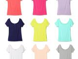 2014韩版夏季新款时尚广州女装代理批发 糖果色圆领短袖T恤82
