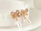 ES0365 韩版饰品 超级优雅大方气质水滴珍珠坠镶钻蝴蝶耳钉