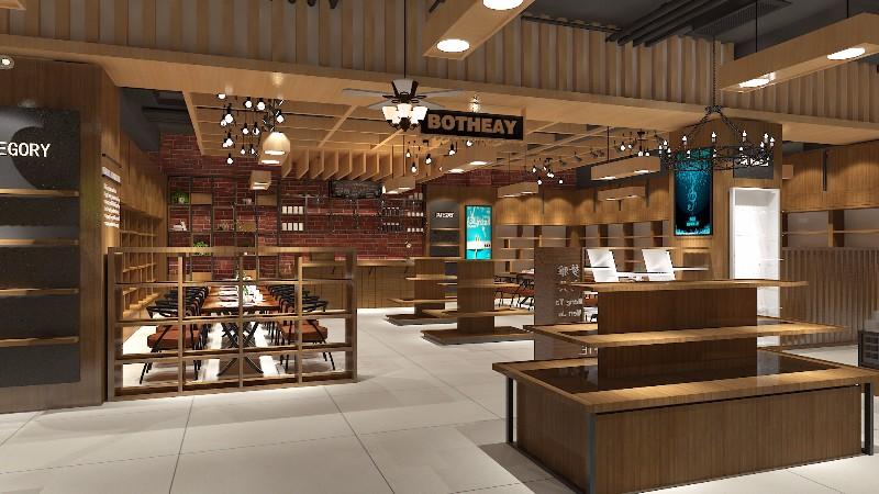 菏泽济宁超市木质货架展柜设计制作厂点亮展柜