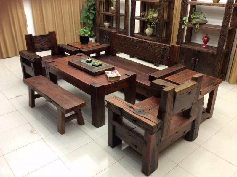 老船木家具客厅茶几仿古功夫茶台实木茶桌椅子简约茶艺桌