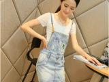 2014夏装女装韩版字母刺绣  磨破拉链显瘦牛仔背带裙 连衣裙女