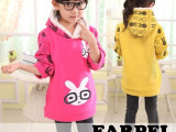 2014冬季爆款女童眼镜兔加绒加厚连帽卫衣 女童韩版新款童卫衣
