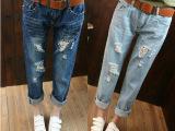 女士牛仔九分无弹宽松大码破洞水洗显瘦韩版牛仔裤两色蓝色铅笔裤