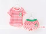 男女童数字套装 外贸童装 夏新款 儿童莫代尔彩条两件套 SLS3