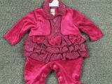外贸原单婴儿珊瑚绒爬爬衣 蝴蝶结连体衣