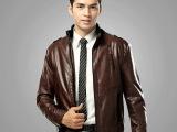 品牌男装正品剪标男式皮衣 品牌商厂家生产男士皮夹克清仓促销087