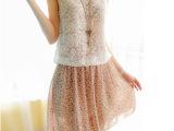 2014夏新款韩版背心式无袖雪纺蕾丝短裙连衣裙可爱碎花小清新气质