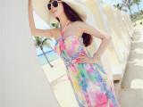 菁菁同款波西米亚长裙挂脖露肩抹胸沙滩裙雪纺碎花显瘦连衣裙
