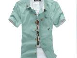 批发短袖衬衫 男韩版男式衬衫 纯棉男士衬衫白色韩版衬衣夏季男装