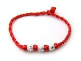 红绳手工编织红绳手链 男/女情侣手链 银转运珠红绳手链