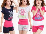 2014韩版时尚舒适女士套装短袖短裤夏装新款印花运动套装