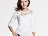 优衣美2015秋冬季女装新款上衣服修身小衫白色打底衫长袖t恤12