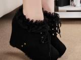 2014新款时尚秋季坡跟女靴 欧美高跟厚底内增高骑士靴女 Q89