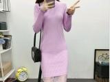 尾货杂款韩版女装套头中长款打底衫毛衣批发