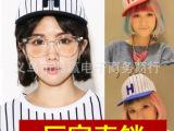 新款韩国女潮时尚夏天代购款户外帽子条纹H字母棒球帽街舞帽