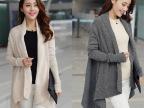 2013秋冬新款韩版女装大码蝙蝠衫长款不规则女士针织衫毛衣外套