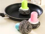 日式带柄钢丝球 厨房清洁钢丝球刷 不锈钢除污刷 刷锅神奇