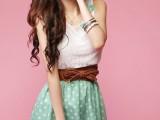 厂家直销 韩版时尚卡哇伊点点蕾丝蝴蝶结圆领连衣裙 送腰带