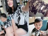 2015韩版夏季 亲子装儿童男女童短袖T恤抽象水墨渲染亲子T上衣