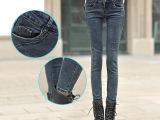 实拍2014秋装新款韩版黑灰色高弹力中腰牛仔裤女小脚裤 代发 批