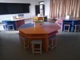 合肥课外辅导班课桌培训桌,定制钢架长条桌折叠桌,六边形桌子