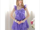 958# 紫色蝴蝶结波浪裙摆飞袖连衣裙