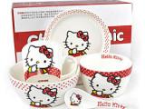 儿童卡通陶瓷碗 Hellokitty餐具五件套装 凯蒂猫KT餐具