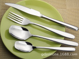 不锈钢高档西餐四件套/方形勺/牛排刀/餐叉/现货/可印制logo