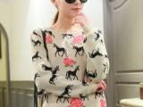 2013新款春夏复古玫瑰花小鹿毛衣图案套头针织衫毛衣打底一件代发