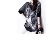 2014夏装新款印花拼接长款蝙蝠中袖T恤 欧美圆领宽松打底衫潮批